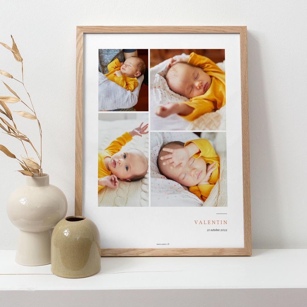 Affiche Déco Chambre Enfant Multiphoto Initiale Terracotta pas cher