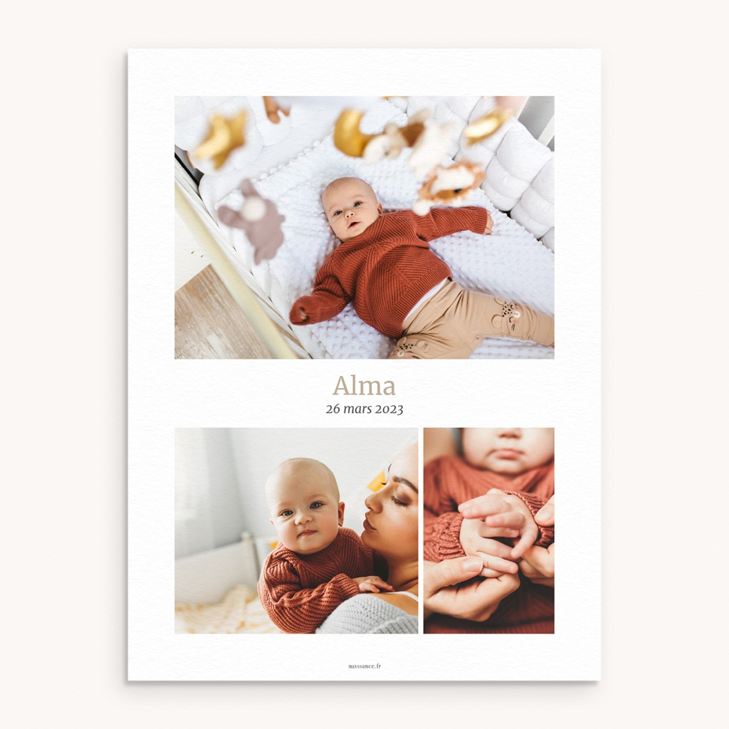 Affiche Déco Chambre Enfant Multiphoto Beige Rosé