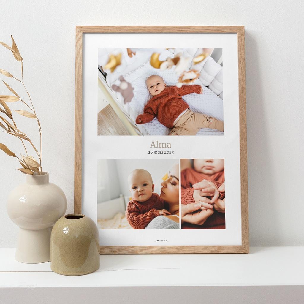 Affiche Déco Chambre Enfant Multiphoto Beige Rosé pas cher