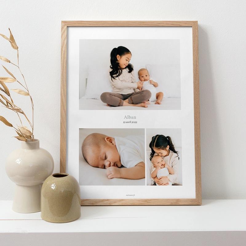 Affiche Déco Chambre Enfant Multiphoto Gris Bleu pas cher