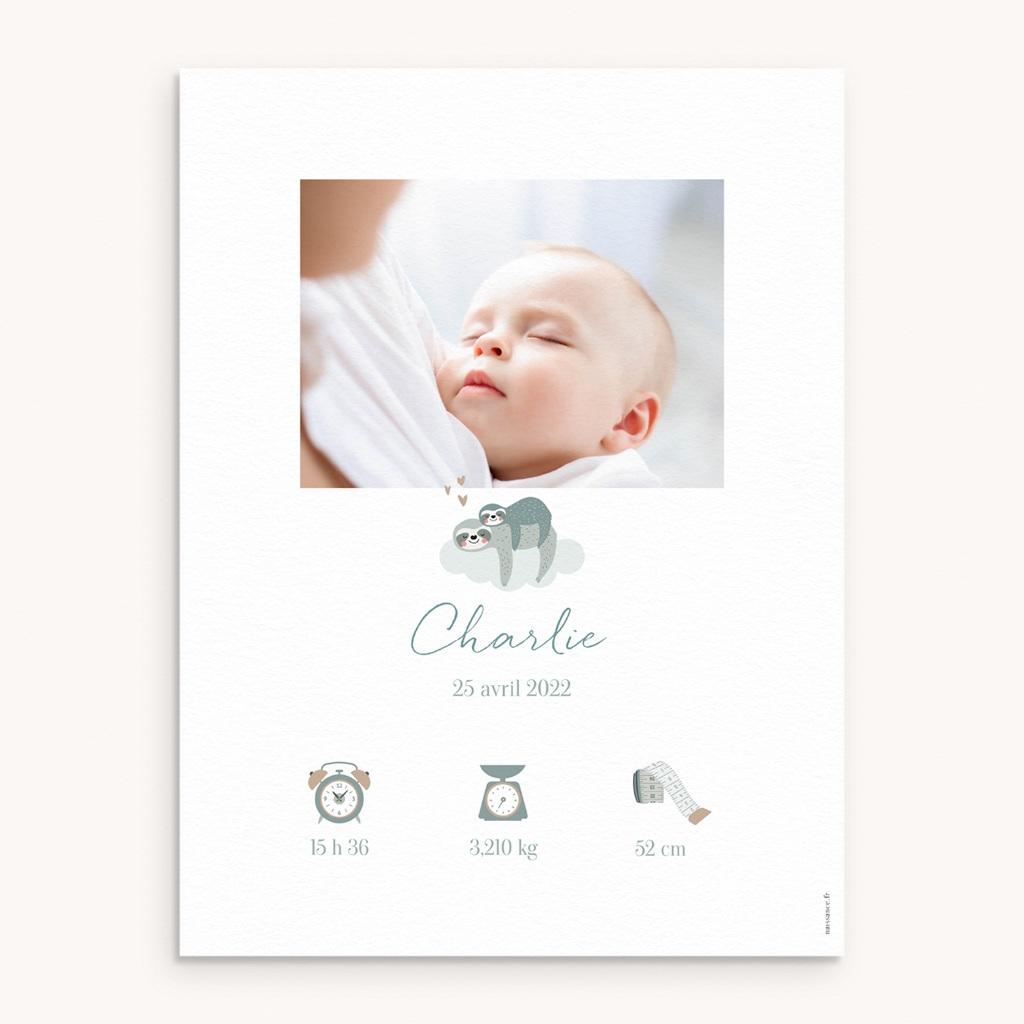 Affiche Déco Chambre Enfant Petit Paresseux et sa maman
