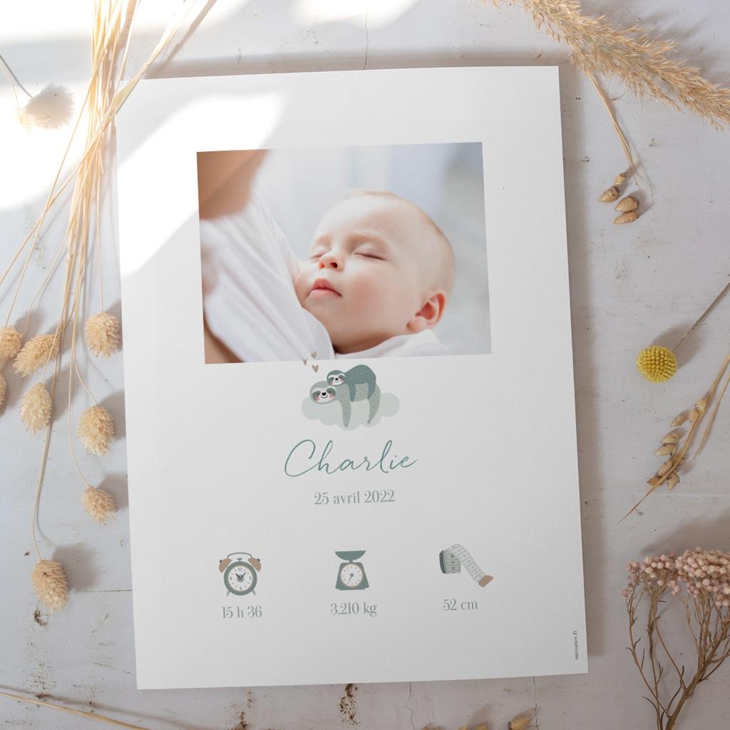 Affiche Déco Chambre Enfant Petit Paresseux et sa maman gratuit