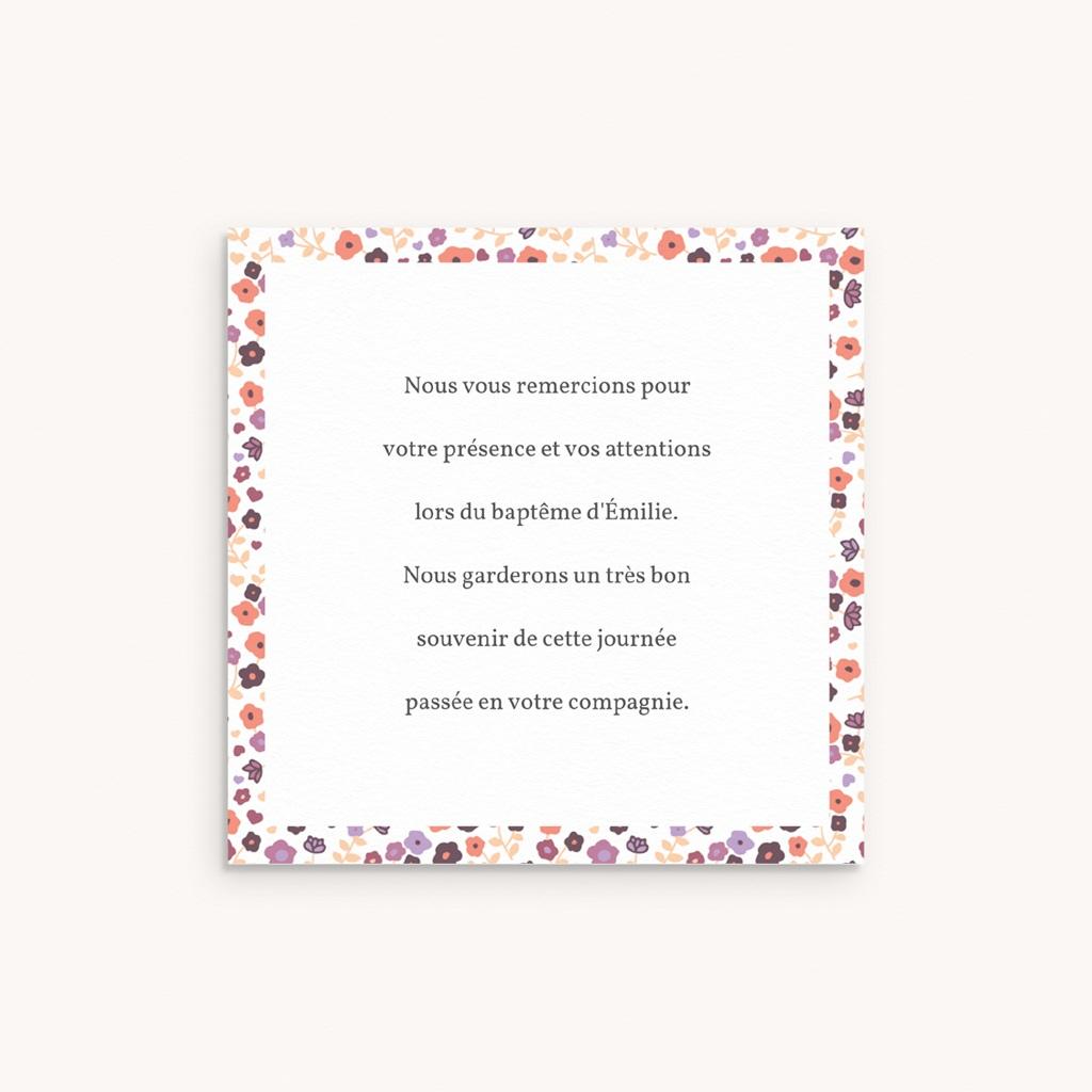 Carte de Remerciement Baptême Petit mot fleuri