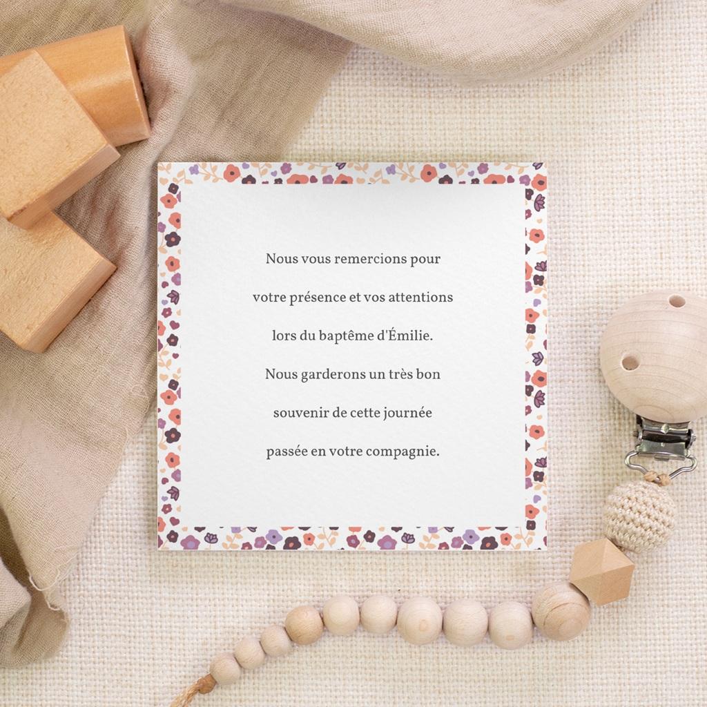 Carte de Remerciement Baptême Petit mot fleuri gratuit