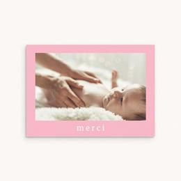 Carte de Remerciement Naissance Douce plume rose