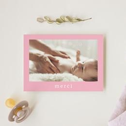 Carte de Remerciement Naissance Douce plume rose gratuit
