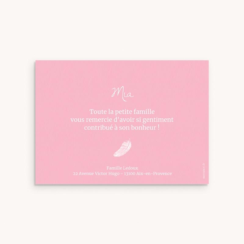 Carte de Remerciement Naissance Douce plume rose pas cher