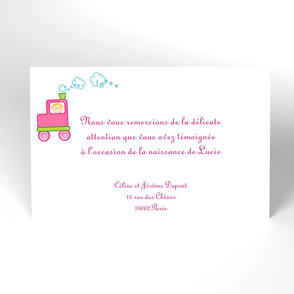 Carte de Remerciement Naissance Le Train