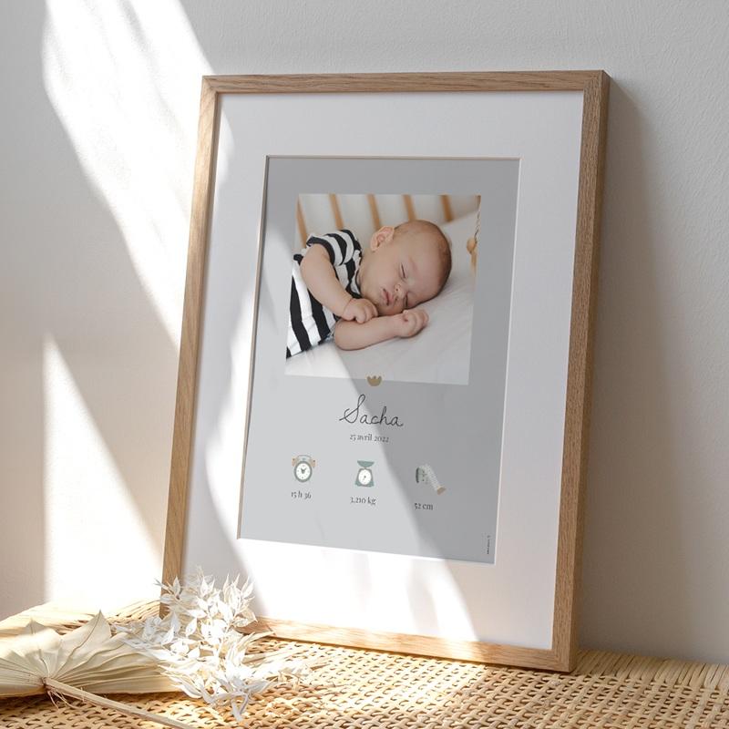 Affiche Déco Chambre Enfant Lama Tout doux, gris