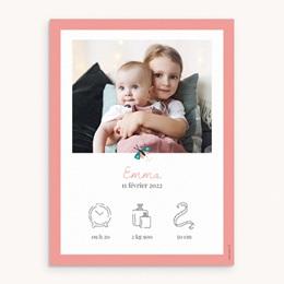 Affiche Déco Chambre Enfant Papillons Colorés, bordure rose