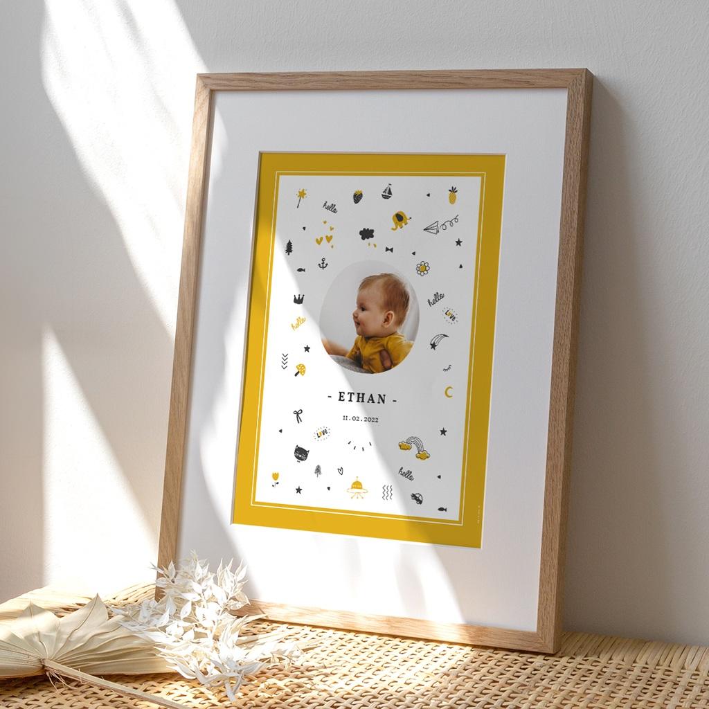 Affiche Déco Chambre Enfant Hello Hello - Pictos jaunes et noirs