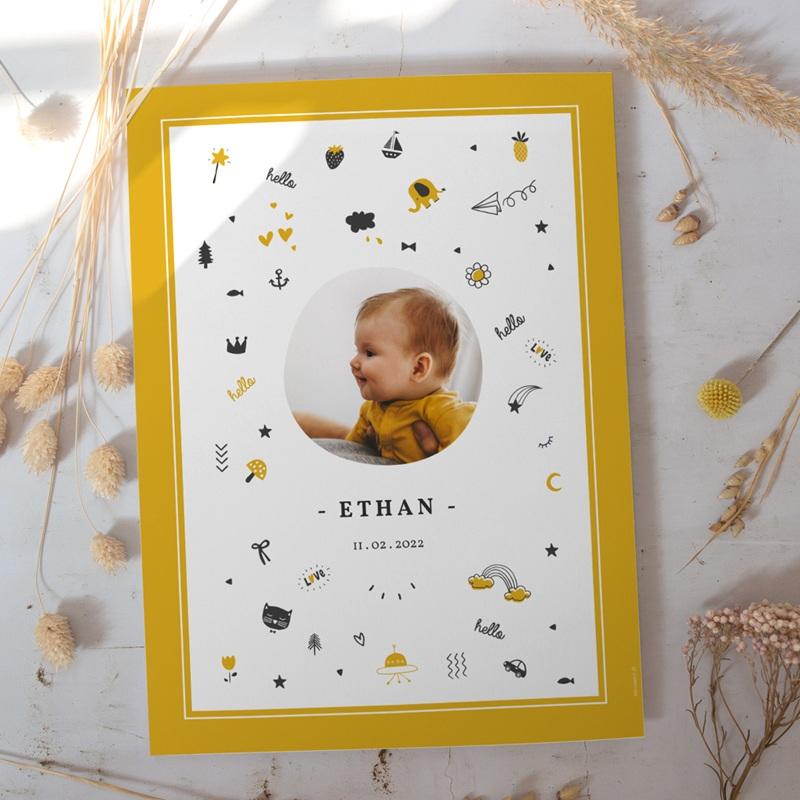Affiche Déco Chambre Enfant Hello Hello - Pictos jaunes et noirs gratuit