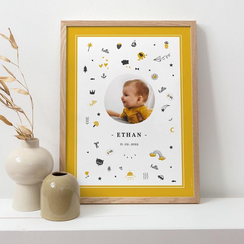 Affiche Déco Chambre Enfant Hello Hello - Pictos jaunes et noirs pas cher