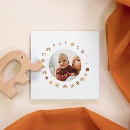 Carte de Remerciement Baptême Couronne enchantée, 10 x 10