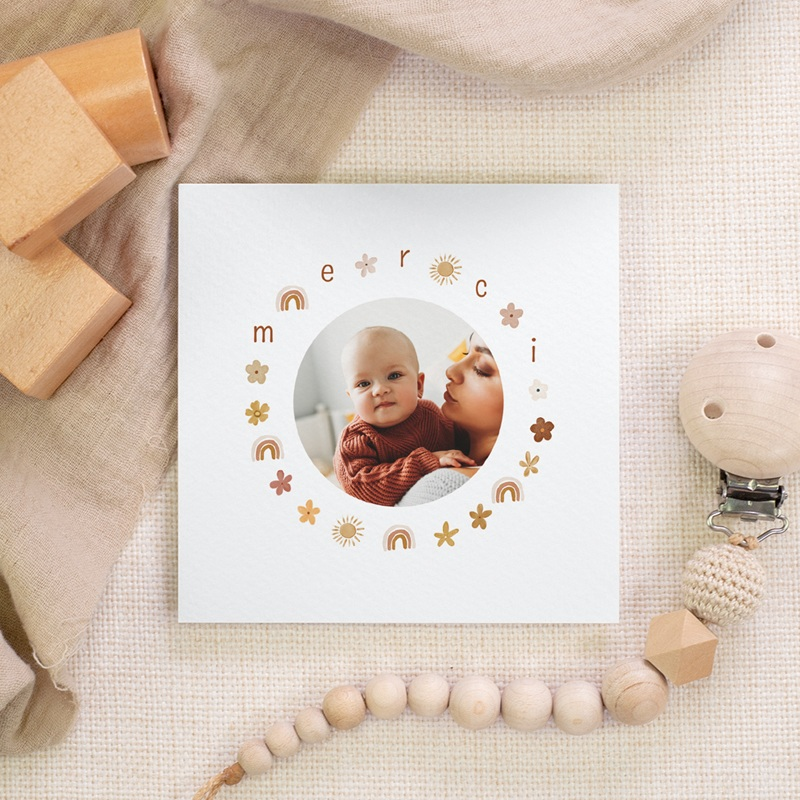 Carte de Remerciement Baptême Couronne enchantée, 10 x 10 gratuit