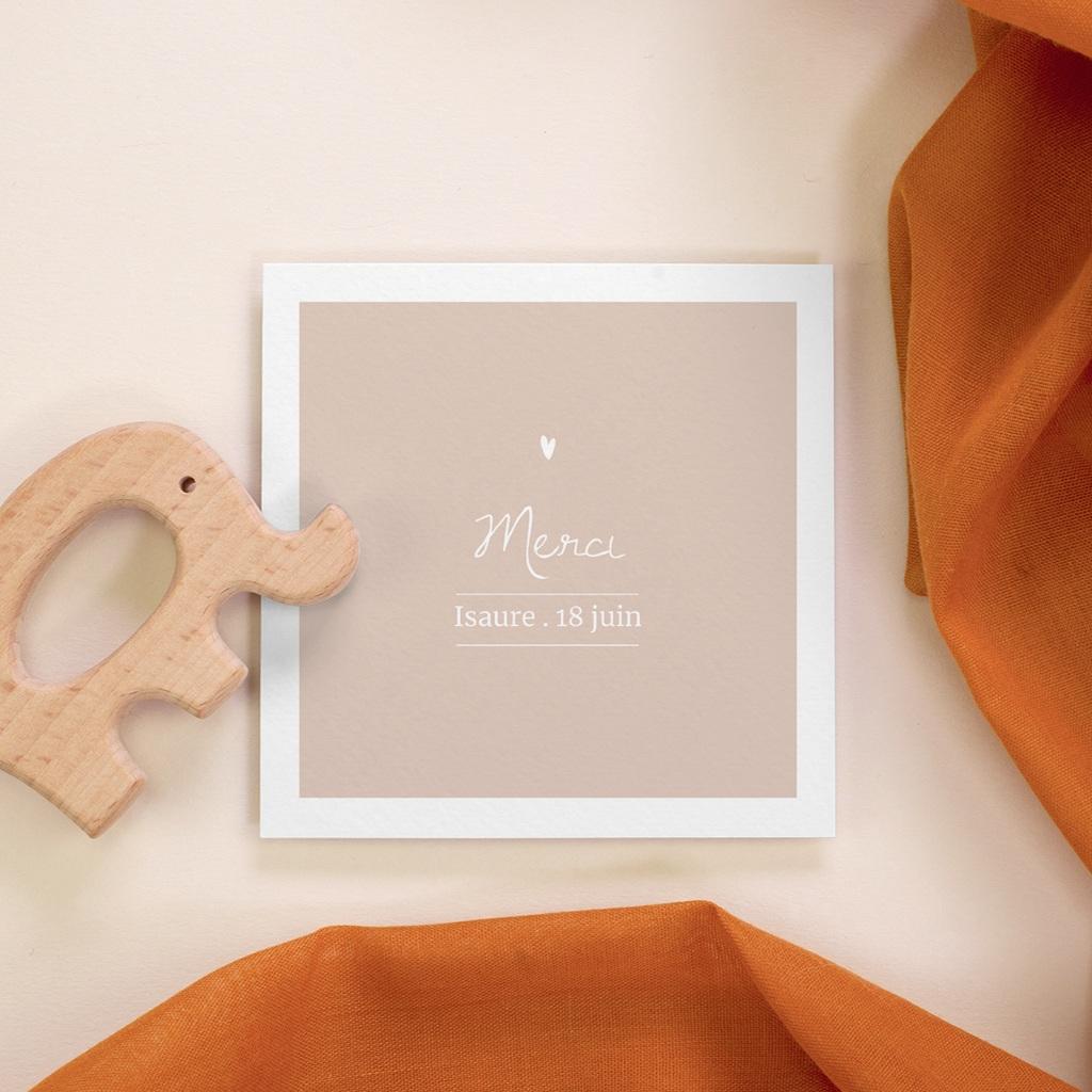 Carte de Remerciement Baptême Avec Amour Fille, 10 x 10 cm
