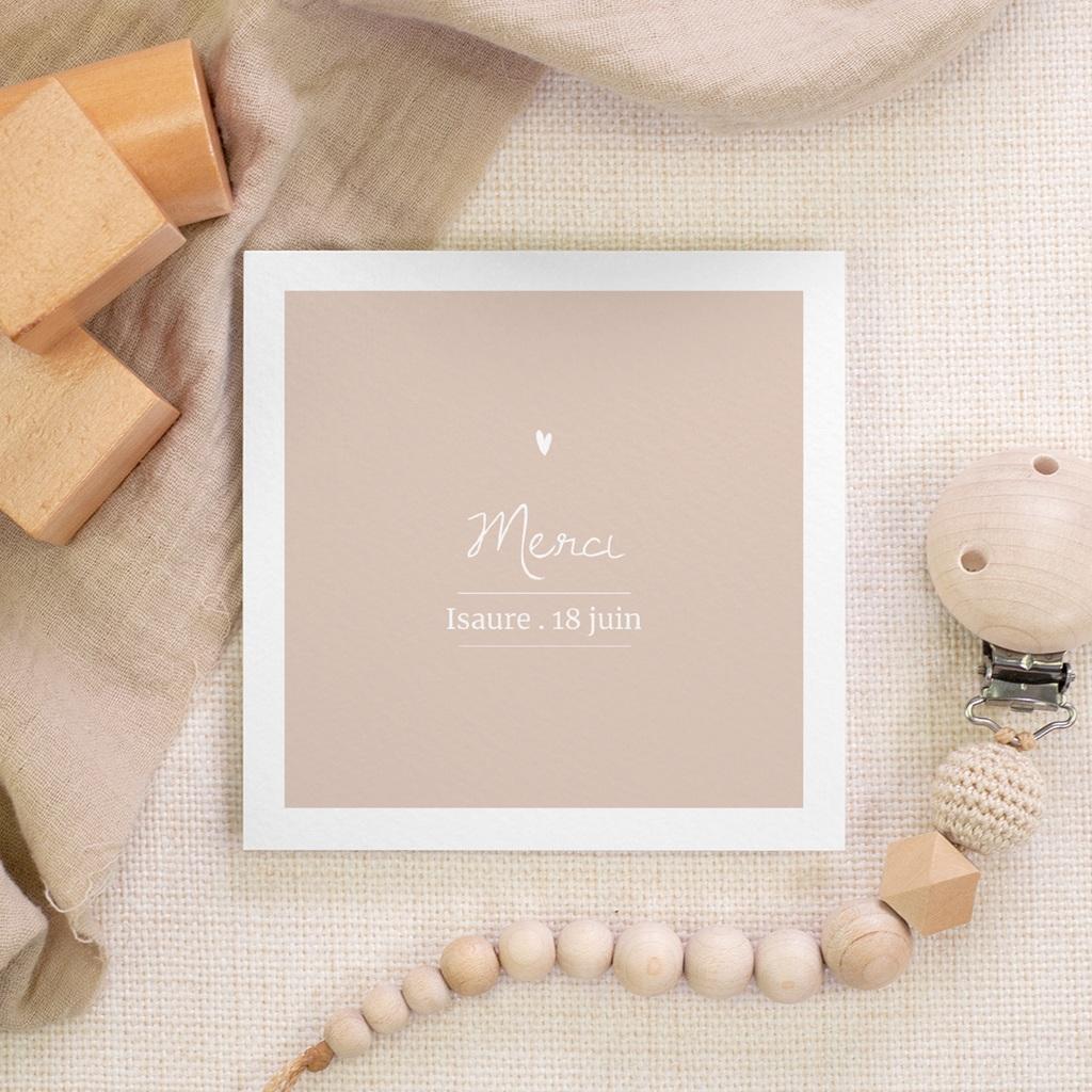 Carte de Remerciement Baptême Avec Amour Fille, 10 x 10 cm gratuit
