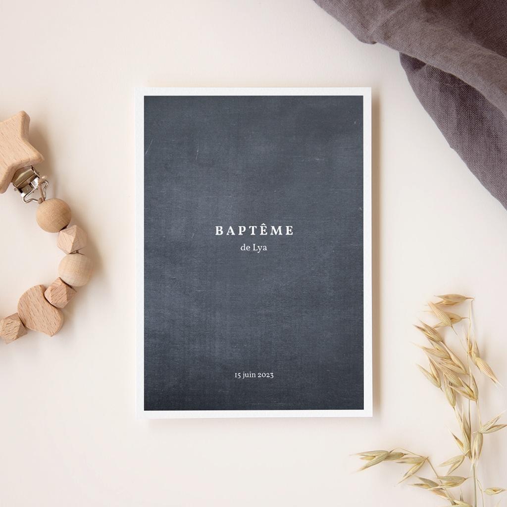 Livret de Messe Baptême Ardoise fille, couverture