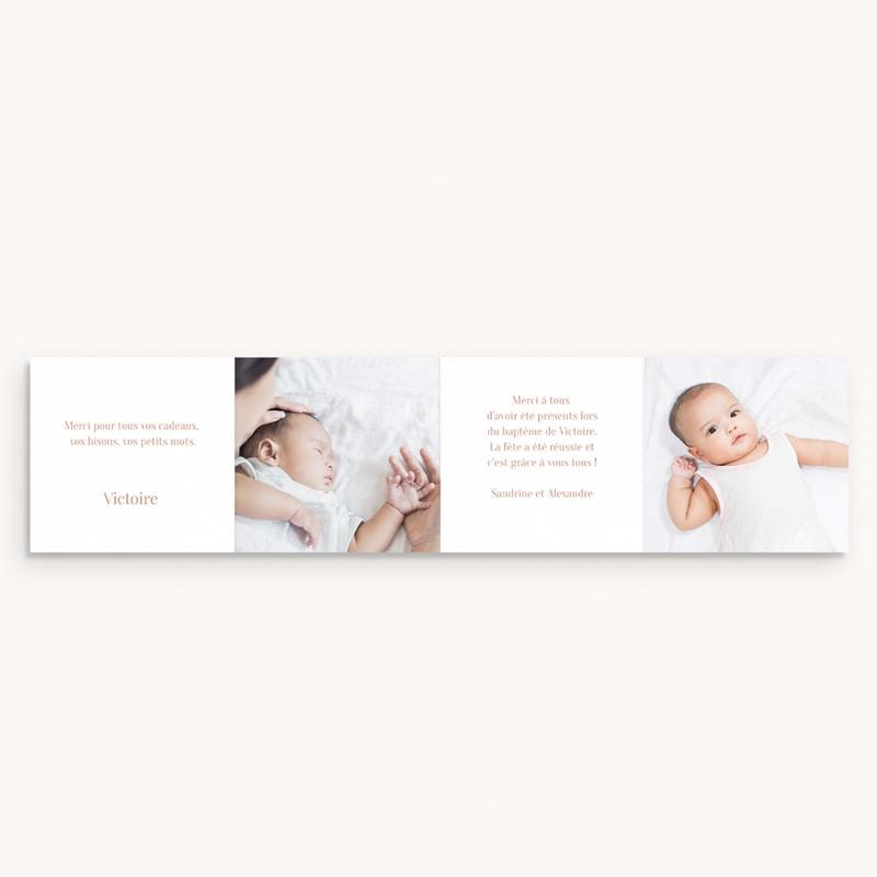 Carte de Remerciement Baptême Bloom, accordéon pas cher
