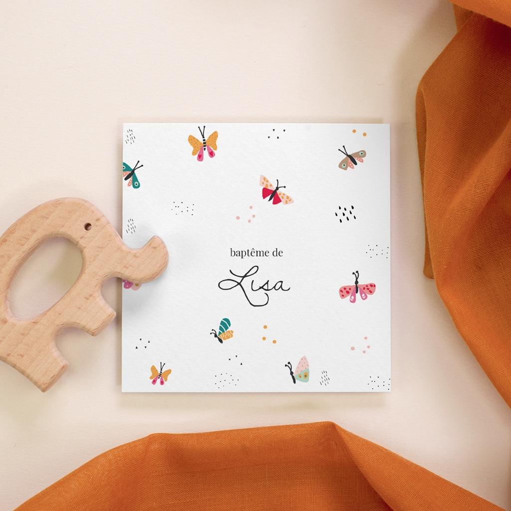 Faire-part de Baptême Papillons Colorés, mini Format
