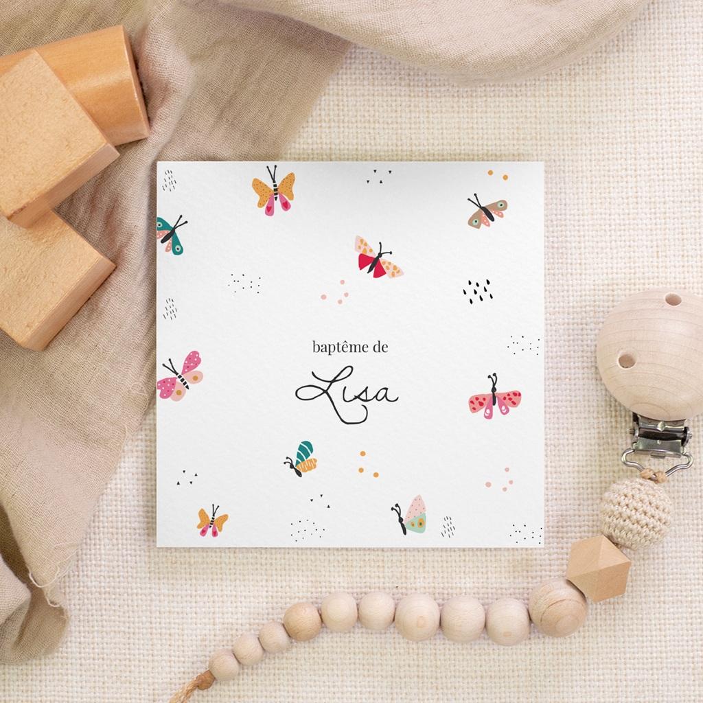 Faire-part de Baptême Papillons Colorés, mini Format gratuit