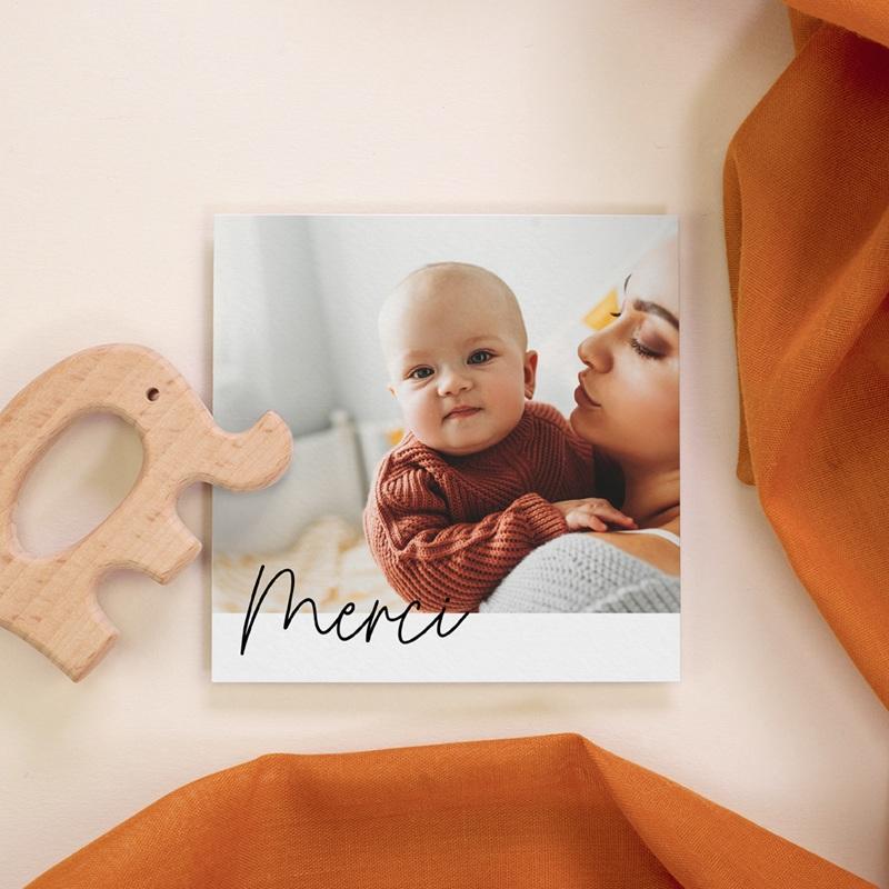 Carte de Remerciement Naissance Petite Typo Script