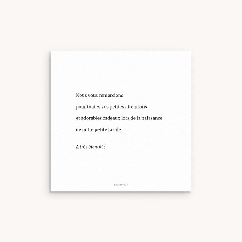 Carte de Remerciement Naissance Petite Typo Script pas cher