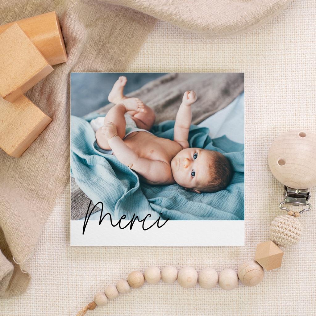 Carte de Remerciement Naissance Notre Petit Script, 10 X 10 gratuit