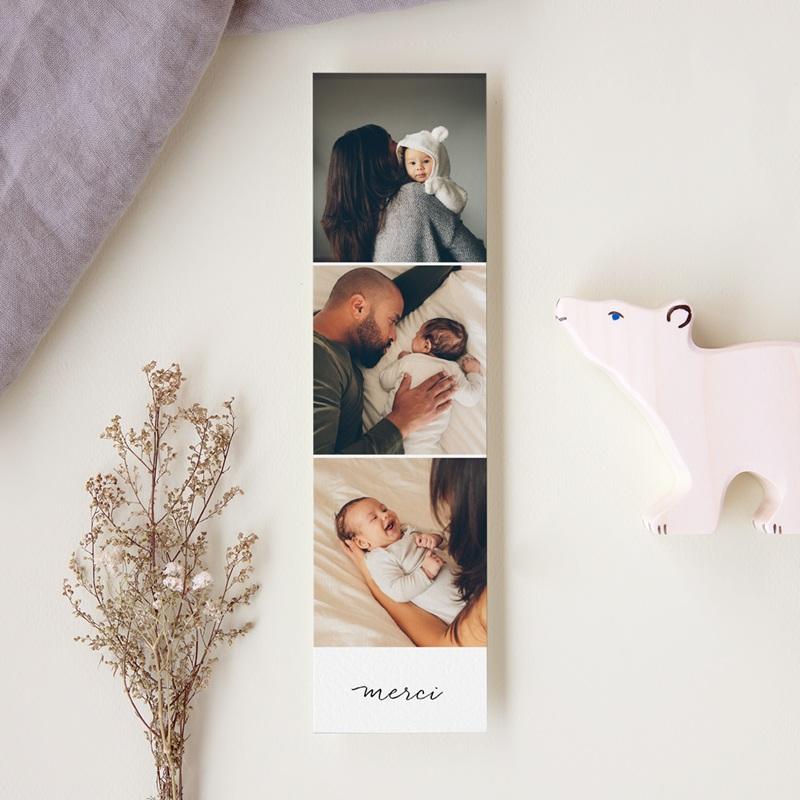 Carte de Remerciement Naissance Notre bébé Fille, 3 Photos