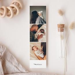 Carte de Remerciement Naissance Notre bébé Fille, 3 Photos gratuit