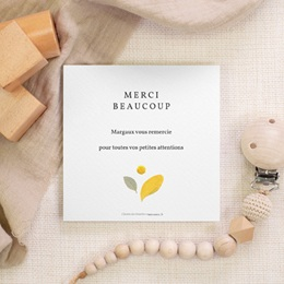 Carte de Remerciement Naissance Herbier estival, 10 x 10 gratuit