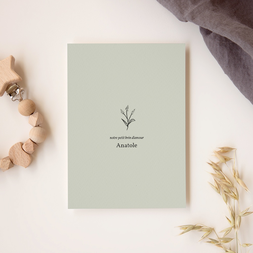 Faire-part de Naissance Brin floral, vert sauge, 12 x 16,7 cm gratuit