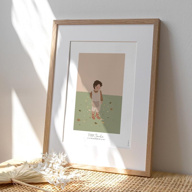 Affiche Déco Chambre Enfant Petit garçon Brun