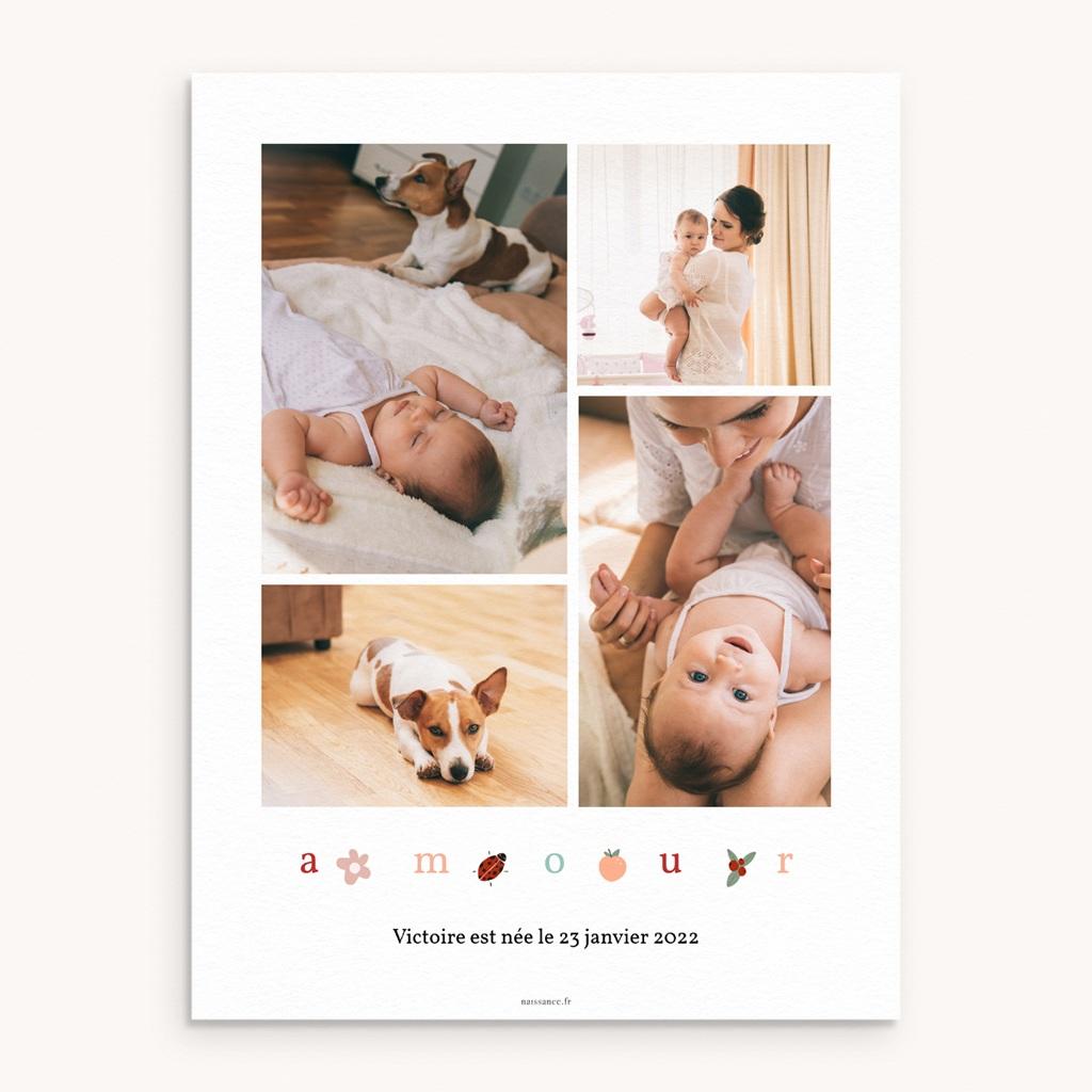 Affiche Déco Chambre Enfant Lettres d'amour, printemps