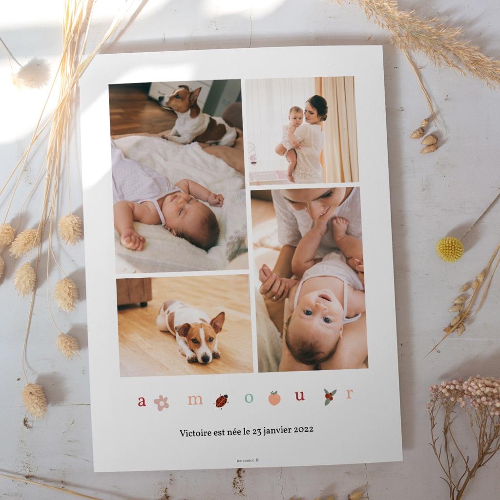 Affiche Déco Chambre Enfant Lettres d'amour, printemps gratuit