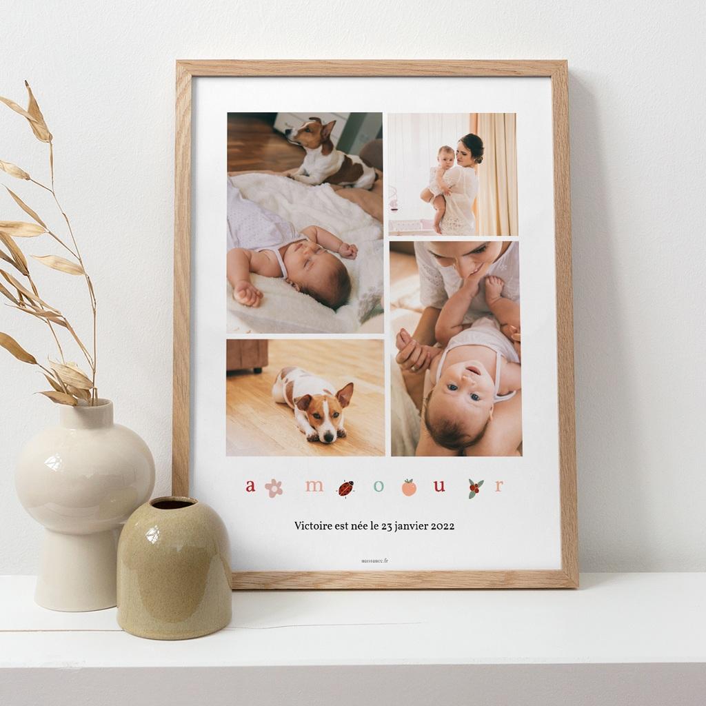 Affiche Déco Chambre Enfant Lettres d'amour, printemps pas cher