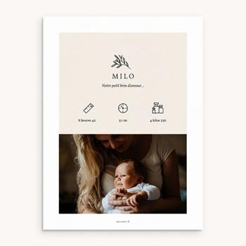 Affiche Déco Chambre Enfant Brin noir et blanc, Photo personnalisé