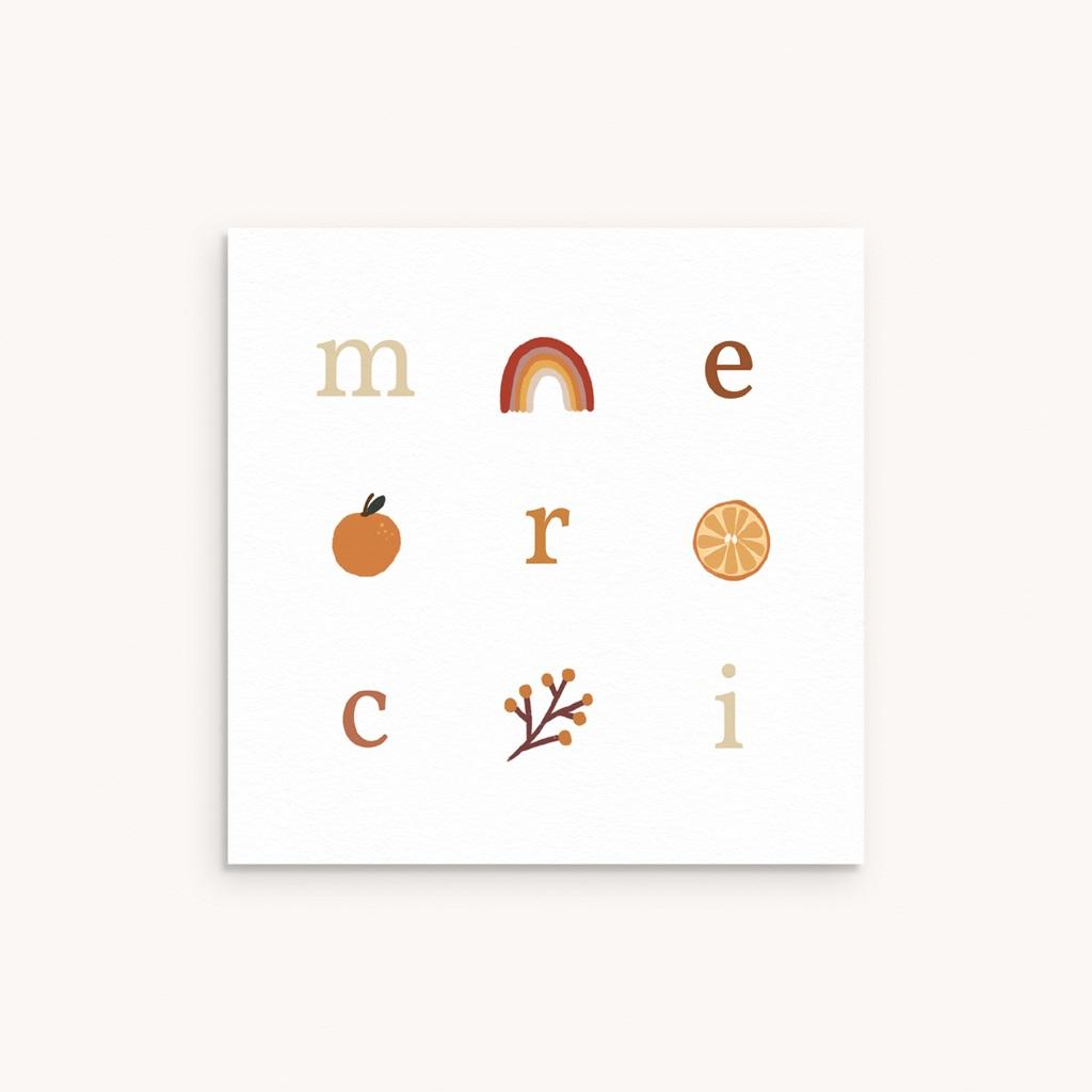 Carte de Remerciement Naissance Lettres d'Amour, Automne, 10 x 10
