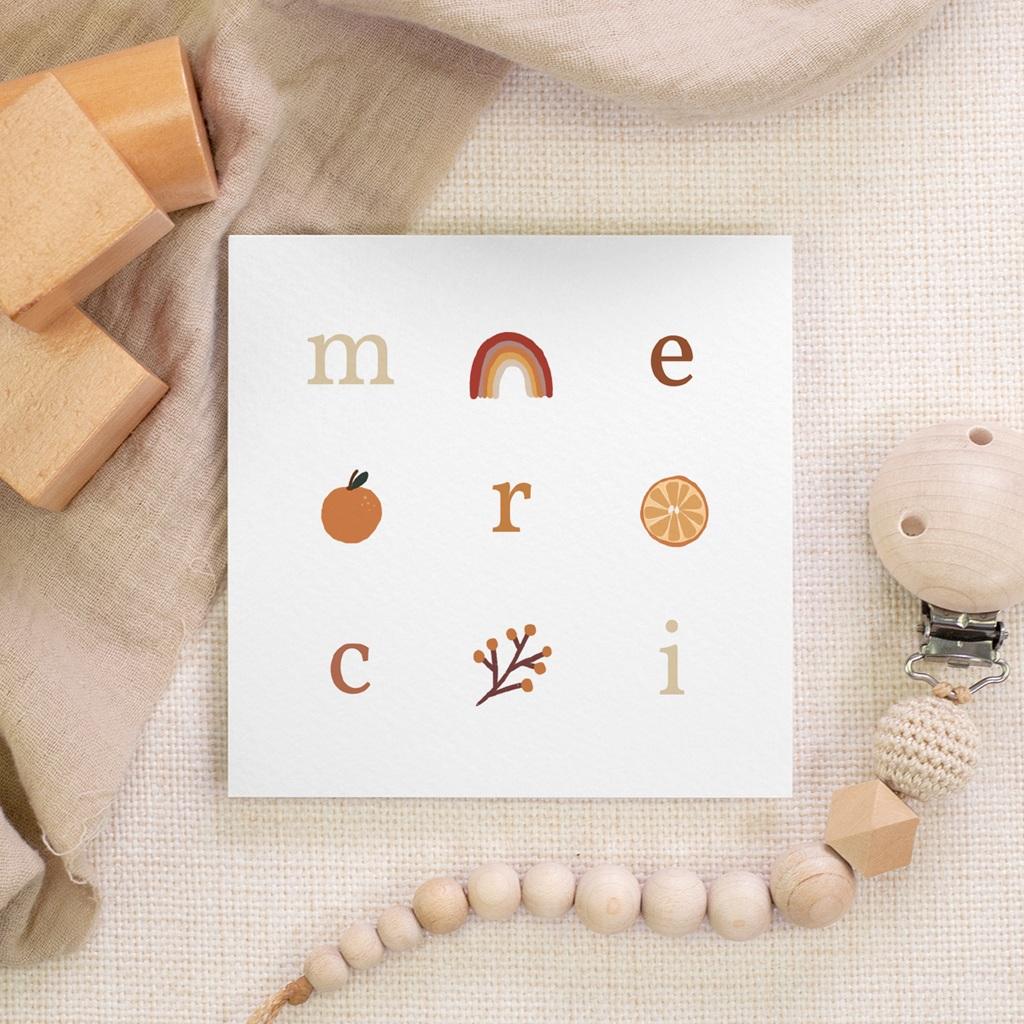 Carte de Remerciement Naissance Lettres d'Amour, Automne, 10 x 10 gratuit