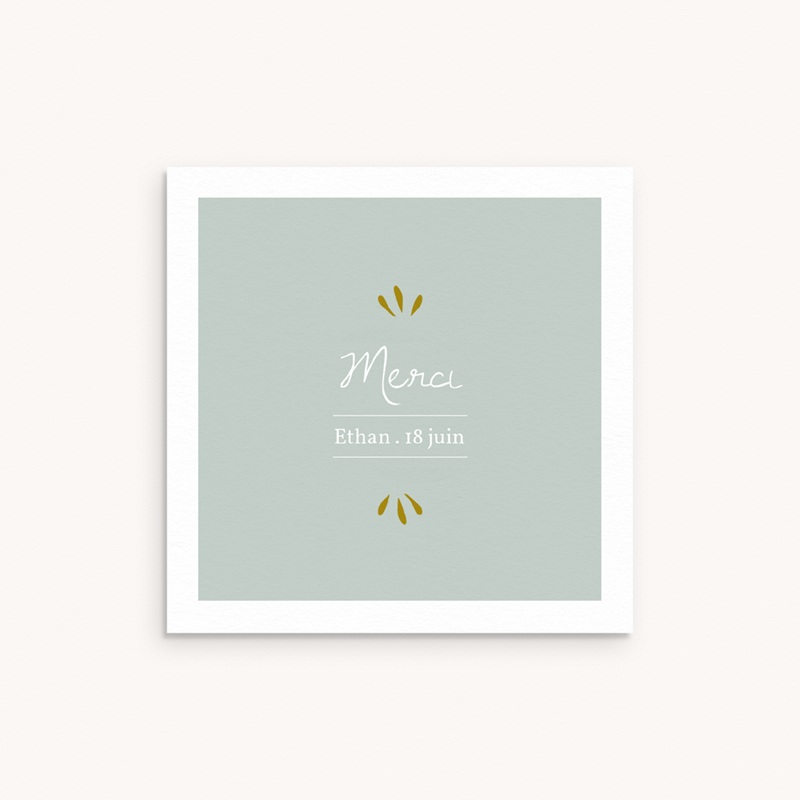 Carte de Remerciement Baptême Avec amour, 10 x 10 cm