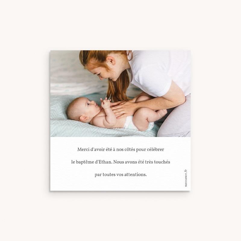 Carte de Remerciement Baptême Avec amour, 10 x 10 cm pas cher