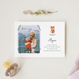 Carte de Remerciement Naissance Joli Renard gratuit