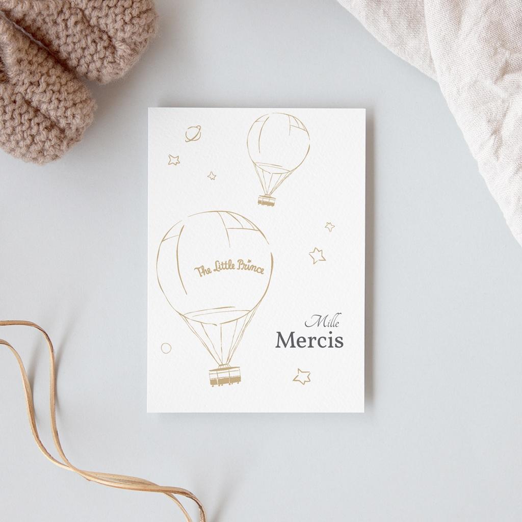 Carte de Remerciement Naissance Voyage en ballon, 10 x 14 cm gratuit