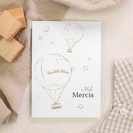 Carte de Remerciement Naissance Voyage en ballon, 10 x 14 cm