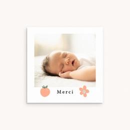 Carte de Remerciement Naissance Coccinelles, cerises & trèfle, 10 x 10 cm
