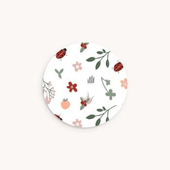 Sticker Enveloppe Naissance Coccinelles, cerises & trèfle, 4,5 cm pas cher