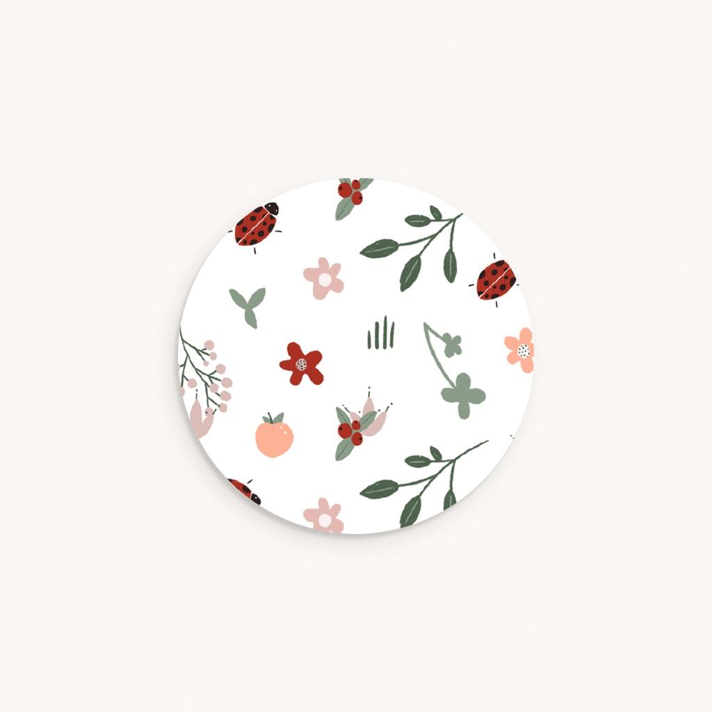 Sticker Enveloppe Naissance Coccinelles, cerises & trèfle, 4,5 cm