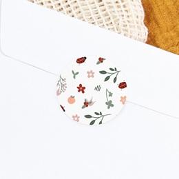 Sticker Enveloppe Naissance Coccinelles, cerises & trèfle, 4,5 cm gratuit