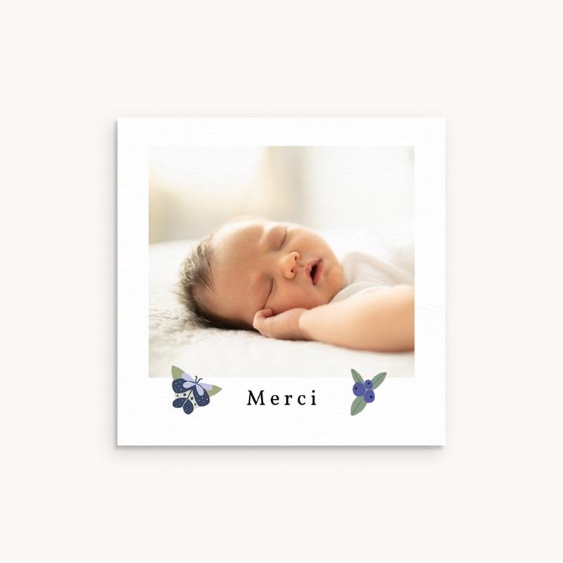 Carte de Remerciement Naissance Fleurs et trèfles bleus, 10 x 10 cm