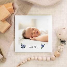 Carte de Remerciement Naissance Fleurs et trèfles bleus, 10 x 10 cm gratuit